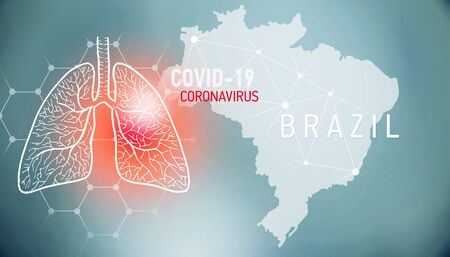 covid-19 infographic banner with silhouette of Brazil. visualization of disease in lungs, copy space for text