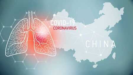 covid-19 infographic banner with silhouette of China. visualization of disease in lungs, copy space for text Foto de archivo