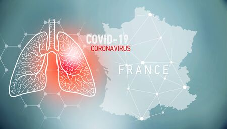 covid-19 infographic banner with silhouette of France. visualization of disease in lungs, copy space for text