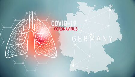covid-19 infographic banner with silhouette of Germany. visualization of disease in lungs, copy space for text Foto de archivo