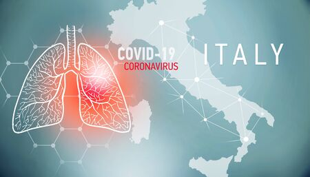 covid-19 infographic banner with silhouette of Italy. visualization of disease in lungs, copy space for text