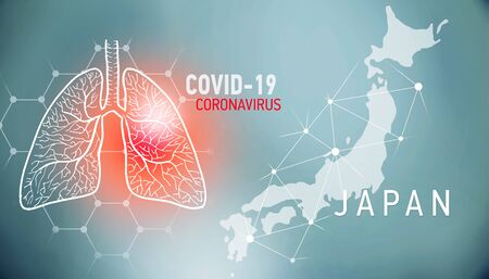 covid-19 infographic banner with silhouette of Japan. visualization of disease in lungs, copy space for text Foto de archivo