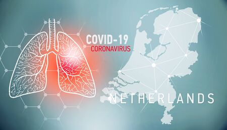 covid-19 infographic banner with silhouette of Netherlands. visualization of disease in lungs, copy space for text
