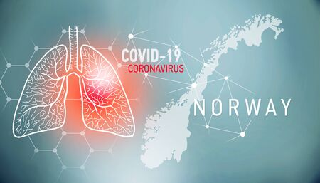 covid-19 infographic banner with silhouette of Norway. visualization of disease in lungs, copy space for text