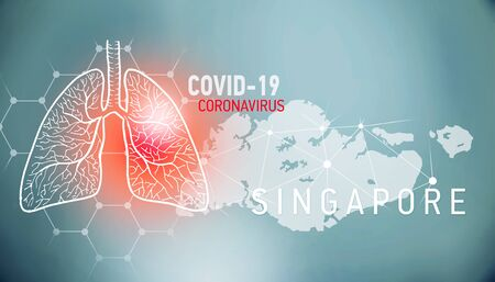 covid-19 infographic banner with silhouette of South Korea. visualization of disease in lungs, copy space for text