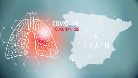 covid-19 infographic banner with silhouette of Spain. visualization of disease in lungs, copy space for text