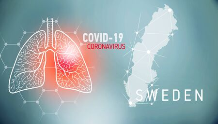 covid-19 infographic banner with silhouette of Sweden. visualization of disease in lungs, copy space for text
