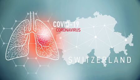 covid-19 infographic banner with silhouette of Switzerland. visualization of disease in lungs, copy space for text