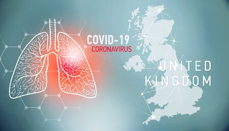 covid-19 infographic banner with silhouette of United Kingdom. visualization of disease in lungs, copy space for text