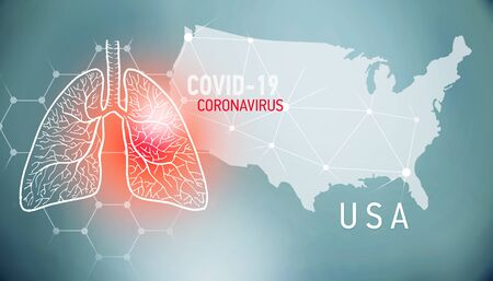 covid-19 infographic banner with silhouette of USA. visualization of disease in lungs, copy space for text Foto de archivo