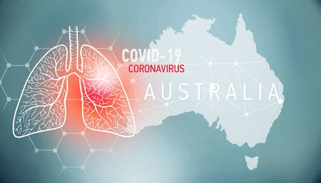 covid-19 infographic banner with silhouette of Australia. visualization of disease in lungs, copy space for text