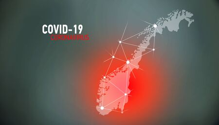 Norway, covid-19, Global virus and world virus infection visualization Foto de archivo