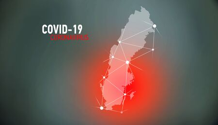 Sweden, covid-19, Global virus and world virus infection visualization Foto de archivo