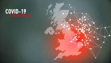 United Kingdom, covid-19, Global virus and world virus infection visualization Foto de archivo