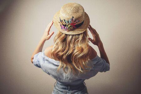 young sexy lady in canotier hat Foto de archivo