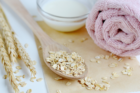 Natural Ingredients for Homemade Oat Body Face Milk Scrub Salt Oil Honey Beauty Concept Organic Eco Healthy Lifestyle