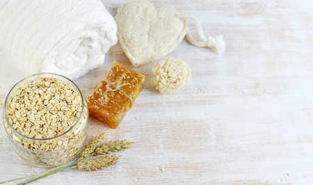 Natural Ingredients for Homemade Oat Body Face Scrub Soap Beauty Concept Organic Eco Healthy Lifestyle