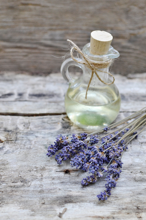 Natural Ingredients for Homemade Body Lavender Salt Scrub Soap Oil Beauty Concept Stock Photo