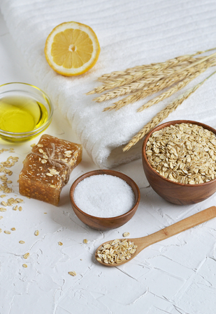 Natural Ingredients for Homemade Oatmeal Body Face Scrub Soap Beauty Concept Organic Eco Healthy Lifestyle