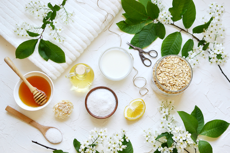 Natural Ingredients for Homemade Oat Body Face Milk Scrub Salt Oil Honey Beauty Organic Eco Healthy Lifestyle Flowers