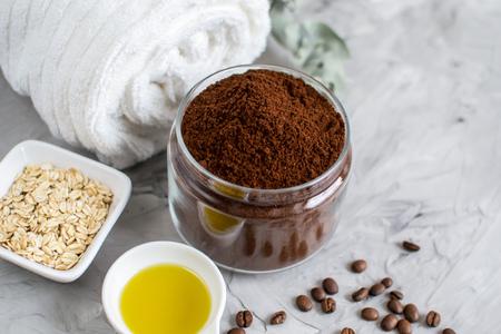 Oatmeal Sugar Scrub Oil Beauty SPA Concept Body Care