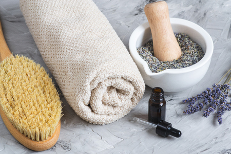 Lavender Natural Homemade Oil, Beauty Concept, Dried Flowers, SPA
