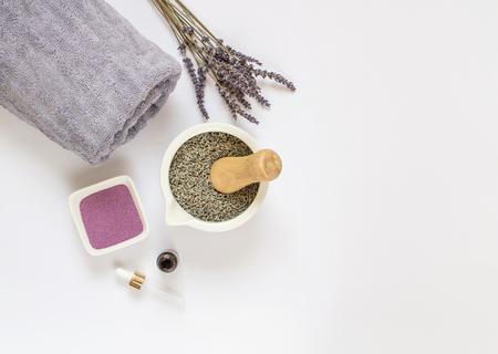 Lavender Organic Scrub, Cream, Oil, Body Skin Care, SPA Aroma Concept Фото со стока - 121848070