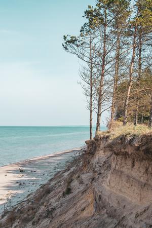 Landscape of Baltic seaside, Latvia, Jurkalne, toned photo Фото со стока