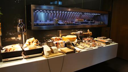 beautiful salad: FRANKFURT - SEPTEMBER 2014: Lufthansa First Class Lounge: Detail of a beautiful salad buffet with a rich choice, healthy food Editorial