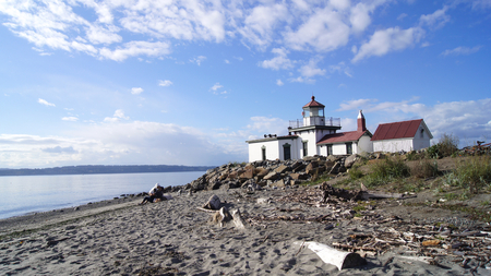 West Point Lighthouse, Seattle, Washington. The lighthouse was added to the National Register of Historic Places in 1977. It became automated in 1985, the last station in Washington to do so. Reklamní fotografie