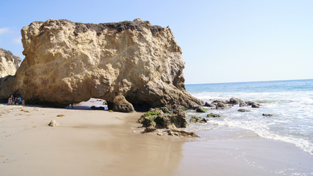 secluded: Beautiful and romantic El Matador State Beach in Southern California. Stock Photo
