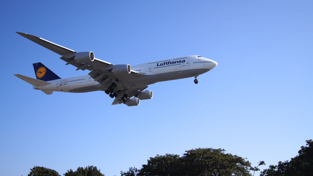LOS ANGELES, CALIFORNIA, USA - OCT 9th, 2014: Lufthansa Boeing 747-8 MSN 37839 D-ABYP shown shortly before landing at the LA Airport LAX. Editorial