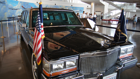 SIMI VALLEY, CALIFORNIA, UNITED STATES - OCT 9, 2014: Presidential motorcade on display at the Ronald Reagan Library and Museum