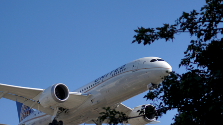msn: LOS ANGELES, CALIFORNIA, UNITED STATES - OCT 9th, 2014: United Airlines Boeing 787-8 MSN 34825 N45905 shown shortly before landing at the LA Airport LAX.