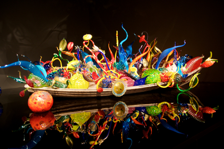 tacoma: SEATTLE, WASHINGTON, USA - JAN 23rd, 2017: Blown glass in abstract shapes, Ikebana and Float Boat exhibit by American artist Dale Chihuly at Chihuly Garden and Glass Museum
