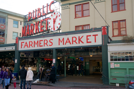 SEATTLE, WASHINGTON, USA - JAN 24th, 2017: Entrance to the Pike Place Market in Seattle Downtown. The market opened in 1907 and is still a major tourist attraction on the waterfront