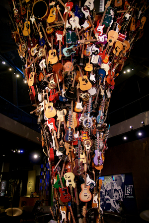 SEATTLE, WASHINGTON, USA - JAN 23rd, 2017: The Roots and Branches Sculpture at the EMP Museum is composed of nearly 700 instruments.