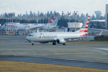 EVERETT, WASHINGTON, USA - JAN 26th, 2017: A brand new American Airlines Boeing 737-800 Next Gen MSN 31258, Registration N309PC returns from a successful test flight, landing at Snohomish County Airport or Paine Field