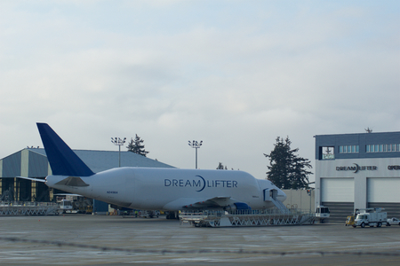 EVERETT, WASHINGTON, USA - JAN 26th, 2017: Boeing 747 Dreamlifter parking at Snohomish County Airport or Paine Field. The Dreamlifter is used exclusively to transport 787 Dreamliner parts to the Boeing factory