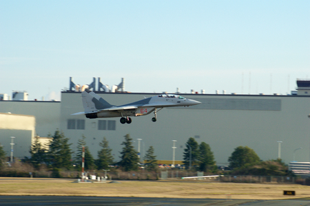 EVERETT, WASHINGTON, USA - JAN 26th, 2017: A MiG-29UB during a low pass athe Boeing factory site at Snohomish County Airport or Paine Field
