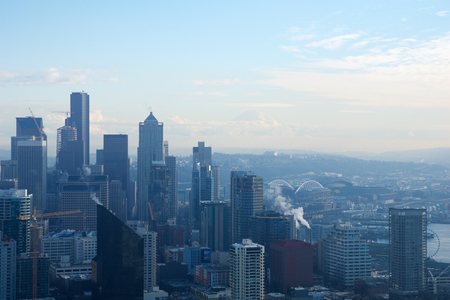 SEATTLE, WASHINGTON, USA - JAN 23rd, 2017: skyline of downtown Seattle, view from the top of the Space Needle during a cloudy day