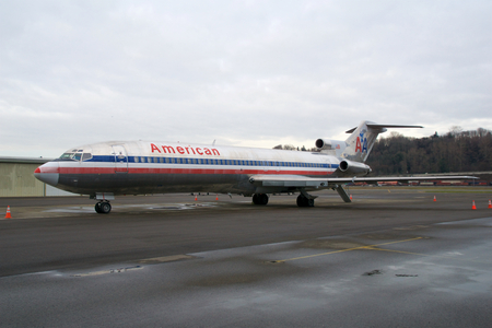 SEATTLE, WASHINGTON, USA - JAN 27th, 2017: An American Airlines Boeing 727-200 MSN 21386, Registration N874AA, built in 1978, since 2003 registered to the MUSEUM OF FLIGHT FOUNDATION.