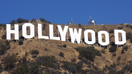 LOS ANGELES, CALIFORNIA - OCTOBER 11, 2014: The world famous landmark Hollywood Sign. It was created as an advertisement in 1923.