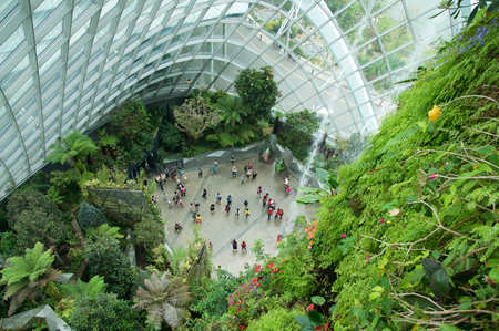 SINGAPORE - JULY 23rd, 2016: Inside of the Cloud Forest Dome - Garden by the Bay Redakční