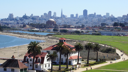 SAN FRANCISCO, USA - OCTOBER 5th, 2014: Crissy Field, The Palace of Fine Arts and the downtown skyline in the background Editorial
