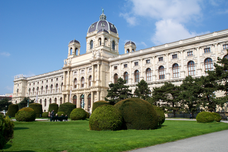 VIENNA, AUSTRIA - APR 29th, 2017: Beautiful view of famous Naturhistorisches Museum (Natural History Museum) with park and sculpture, as seen from Maria-Theresien-Platz. Editorial