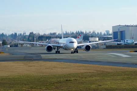 EVERETT, WASHINGTON, USA - JAN 26th, 2017: Brand new Japan Airlines Boeing 787-9 MSN 34843, Registration JA867J lining up for takeoff for a test flight at Snohomish County Airport or Paine Field Editorial