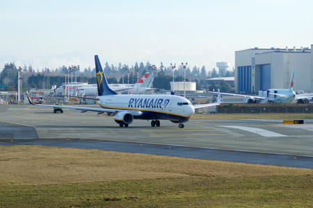 EVERETT, WASHINGTON, USA - JAN 26th, 2017: A brand new Ryanair Boeing 737-800 Next Gen MSN 44766, Registration EI-FTP returns from a successful test flight, landing at Snohomish County Airport or Paine Field