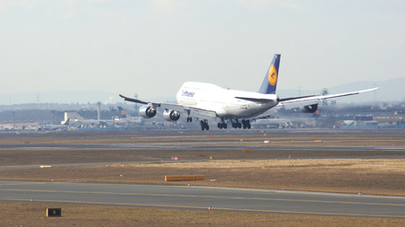 FRANKFURT, GERMANY - FEB 28th, 2015: The Lufthansa Boeing 747 - MSN 37829 - D-ABYD, named Mecklenburg-Vorpommern landing at Frankfurt International Airport FRA. The famous and powerfull aircraft nicknamed as Jumbo has first flight in 1969. The type larges