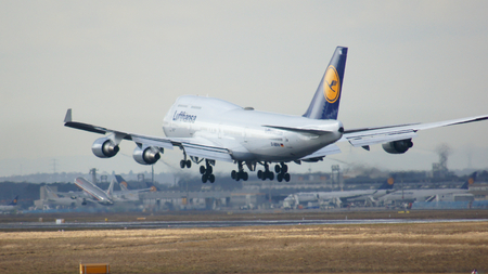 boeing 747: FRANKFURT, GERMANY - FEB 28th, 2015: The Lufthansa Boeing 747 - MSN 26427 - D-ABVN, named Dortmund landing at Frankfurt International Airport FRA. The famous and powerfull aircraft nicknamed as Jumbo has first flight in 1969. The type largest operators ar